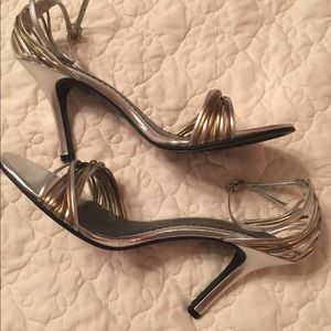 Chinese Laundry Bronze/Silver Strappy Sandle Heels